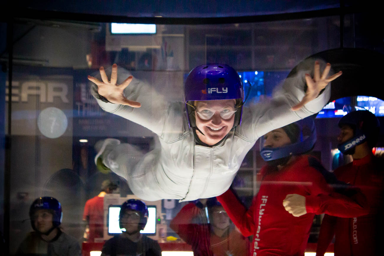 A person enjoys the feeling of lightness at iFly Cincinnati. / Image: Katie Robinson