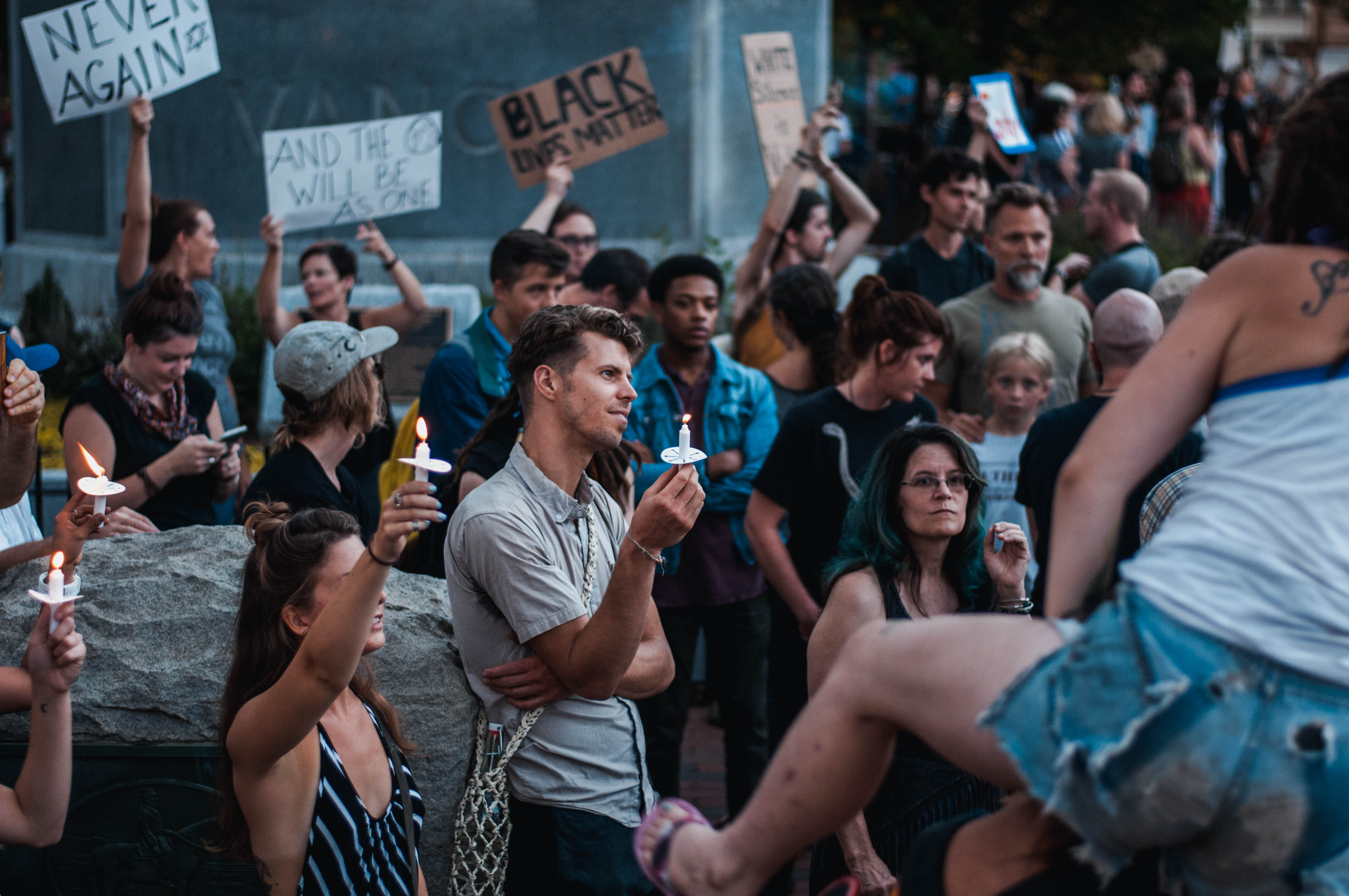 On August 13, 2017, in downtown Asheville at the Vance Monument, a unity rally was held against white supremacy and as a show of solidarity with those in Charlottesville.Photo credit photographer Connor BurchettFollow Connor on Instagram @connorburchett