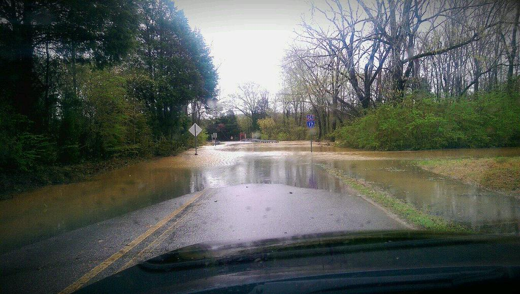 Flash flooding on Fox Valley Farms Road in Maylene, Ala., Monday, April 7, 2014.