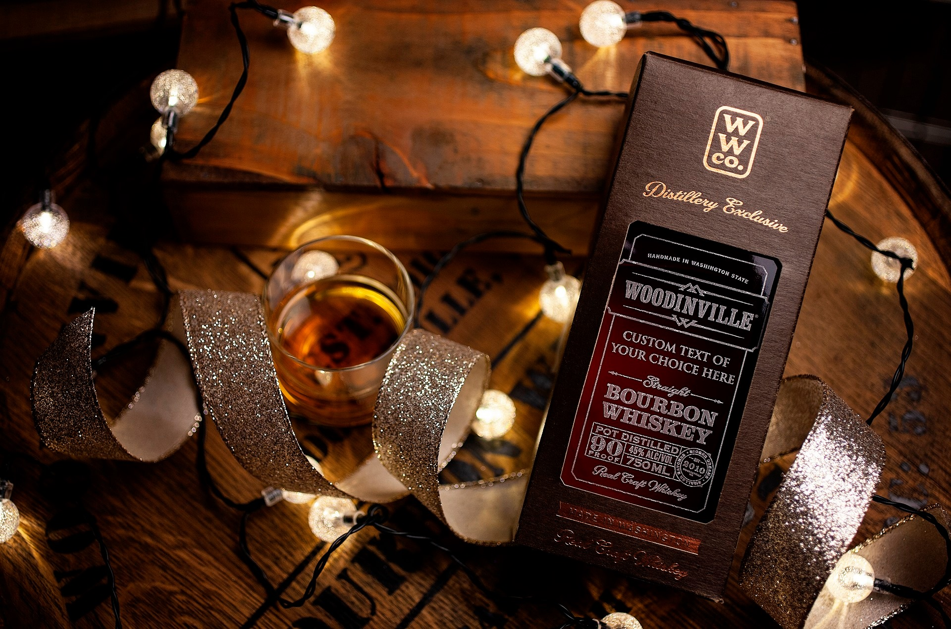 Woodinville Whiskey offers a variety of gift-worthy options.  Opt for the flagship Bourbon, named Best Straight Bourbon of 2020 and Best Bourbon Outside Kentucky, it makes a gorgeous statement when gifted in a custom etched bottle. ($54.95 for the bottle, plus $20 for the etching, for a total of $74.95.) (Image: Woodinville Whiskey)