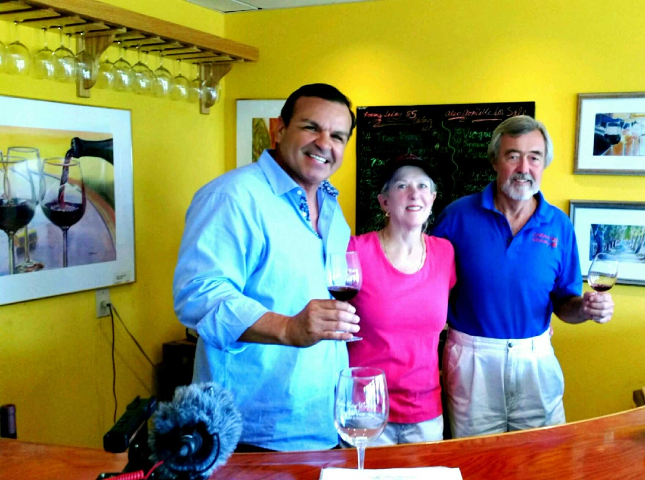 Ray with Jim and Debbie Van Haun of Cedar View Winery (Photo Ray O'Canto/KMPH)
