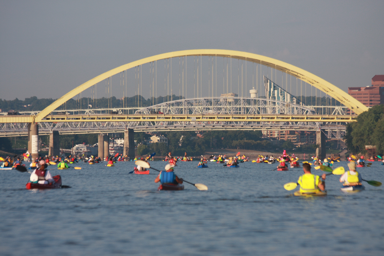August events kicked off with the 18th annual Ohio River Paddlefest on Saturday, August 3, 2019. Thousands paddled down the Ohio River for several hours, leaving from Schmidt Field Recreational Complex and ending at Gilday/Riverside Recreational Complex. The event benefited Adventure Crew, an organization that makes outdoor activities like kayaking and rock climbing free to school-age teens in 22 Cincinnati and NKY schools. / Image: Richard Sanders MD, Rock Doc Photo // Published: 8.29.19