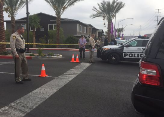 Police are investigating the discovery of two deceased bodies Thursday, October 27, 2016, on the 4400 block of South Hualapai Way in Las Vegas. (Antonio Castelan/KSNV)