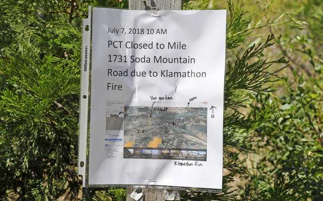 Andy Atkinson / Daily Tidings PCT closure notice near the Mount Ashland Ski Road Monday.