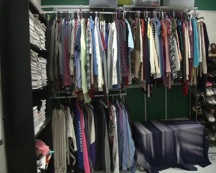 The wardrobe room has items from T-shirts and sweatshirts to pants and jackets. (WCHS/WVAH)