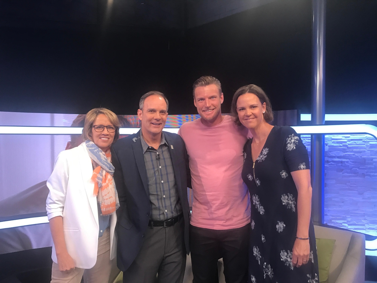 Sam Groth with Tennis Channel talent Mary Carillo, Paul Annacone, and Lindsay Davenport.