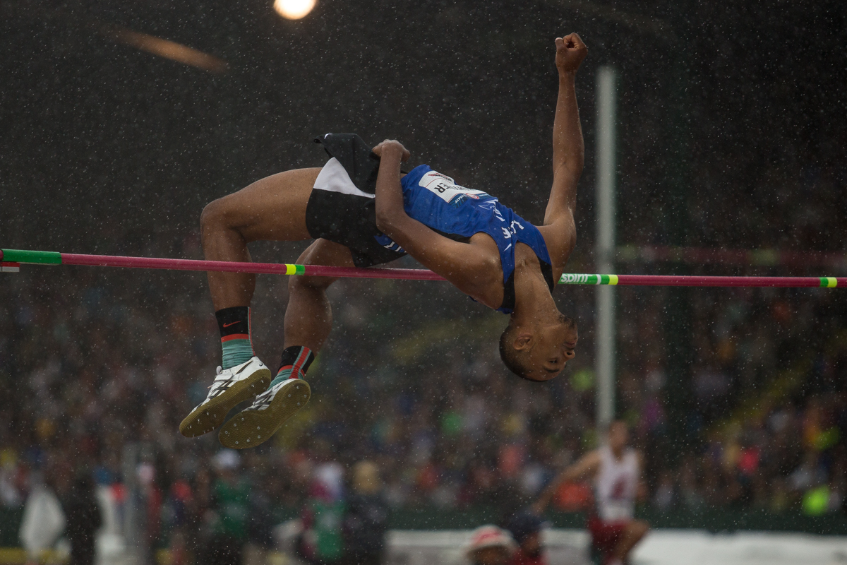 Lane Community Collegeâ��s Dakarai Hightower clears 7 feet �¼ inches in the preliminary round of the high jump, advancing him to Sundayâ��s final. Photo by Dillon Vibes