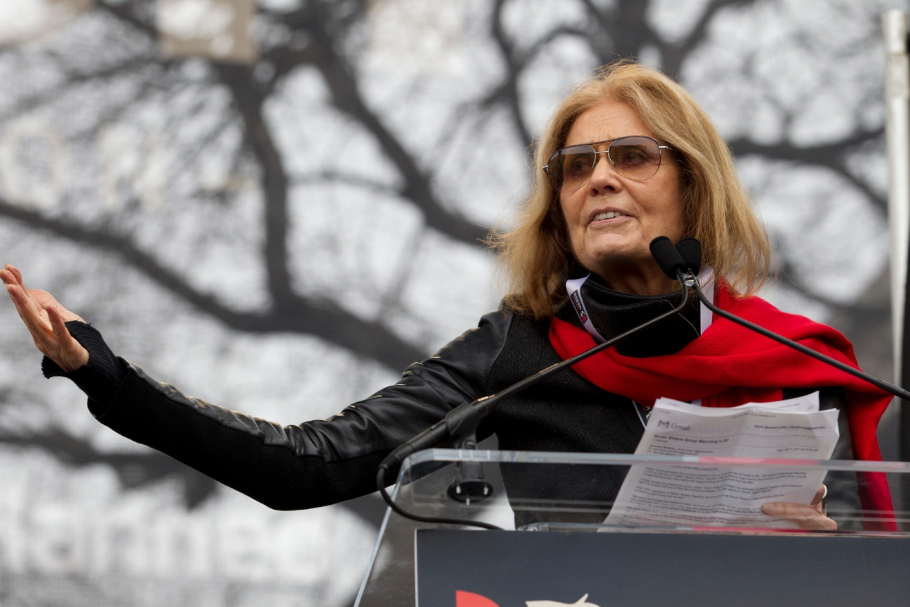 Writer and political activist Gloria Steinem speaks to the crowd during the Women's March on Washington, Saturday, Jan. 21, 2017 in Washington. (AP Photo/Jose Luis Magana)