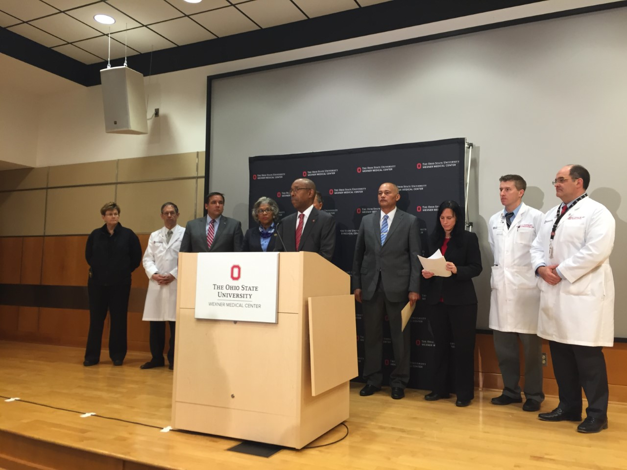 Ohio State President Dr. Michael Drake at a press conference at OSU Wexner Medical Center regarding the campus attack Monday morning (WSYX/WTTE)