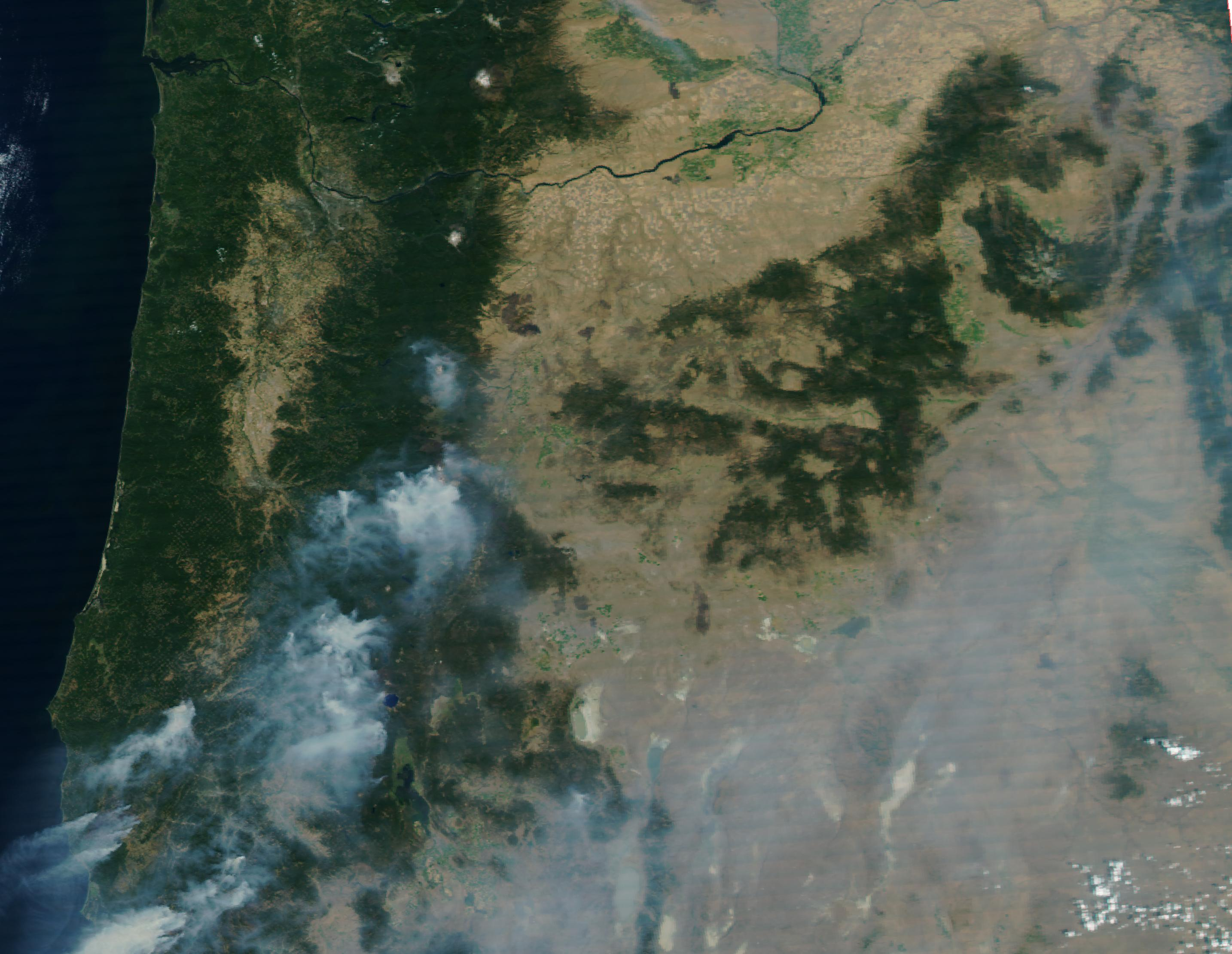 Smoke from from forest fires is visible over Oregon in this August 31, 2017, NASA satellite image. No image was available for September 1, but what a difference a few days makes ...
