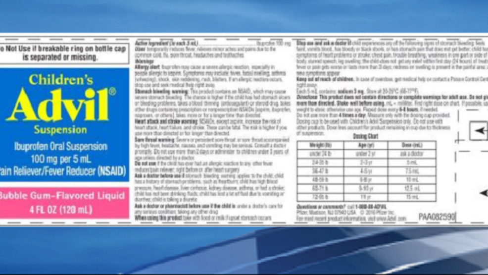 Company Issues Recall Of Childrens Advil Lot Wztv