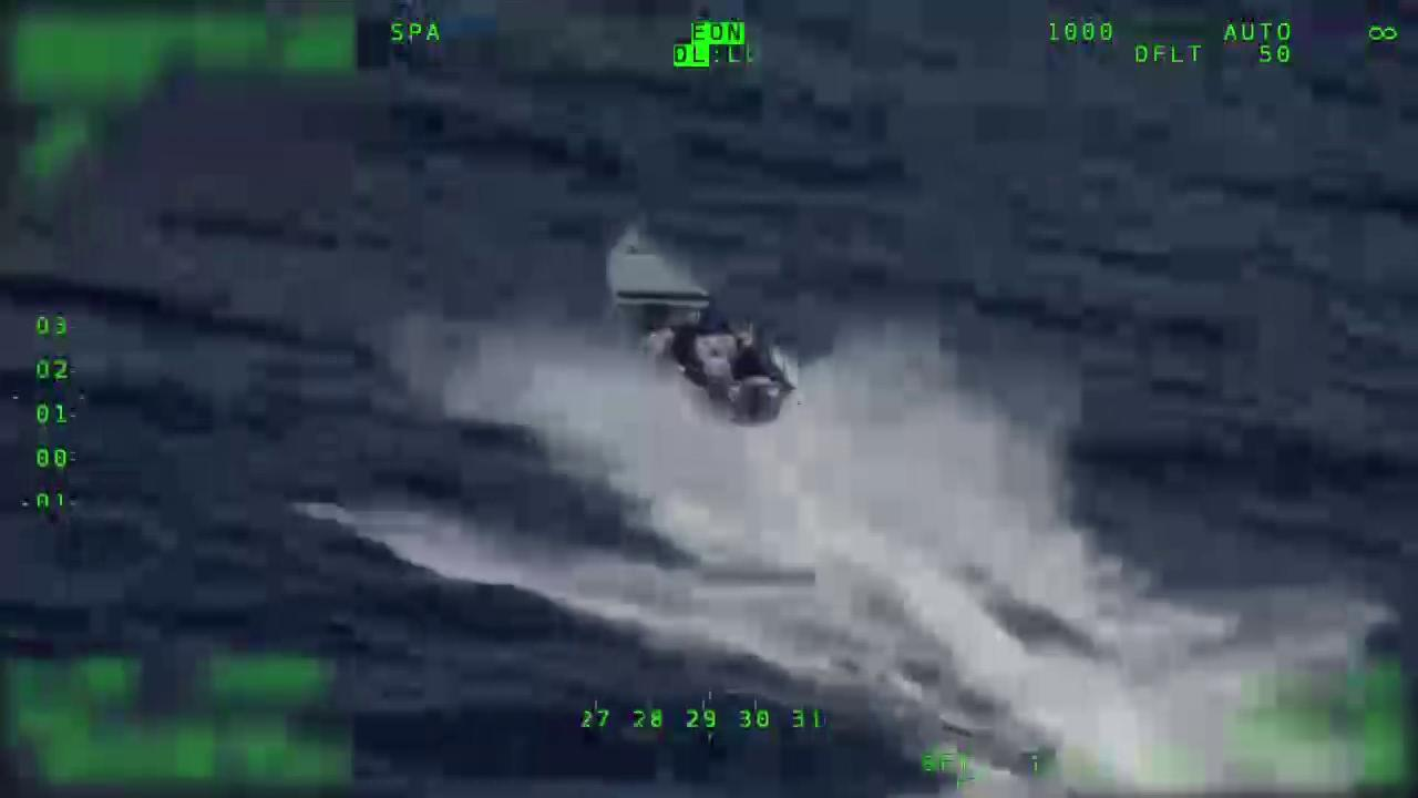 In this video provided by the U.S. Coast Guard, crew members stop a vessel in international waters of the Eastern Pacific Ocean. Before the crew arrives, people on board the vessel can be seen throwing bales of suspected drugs overboard. The Coast Guard says it seized about 2,300 pounds of cocaine from the vessel. (Video: U.S. Coast Guard){ }Thumbnail