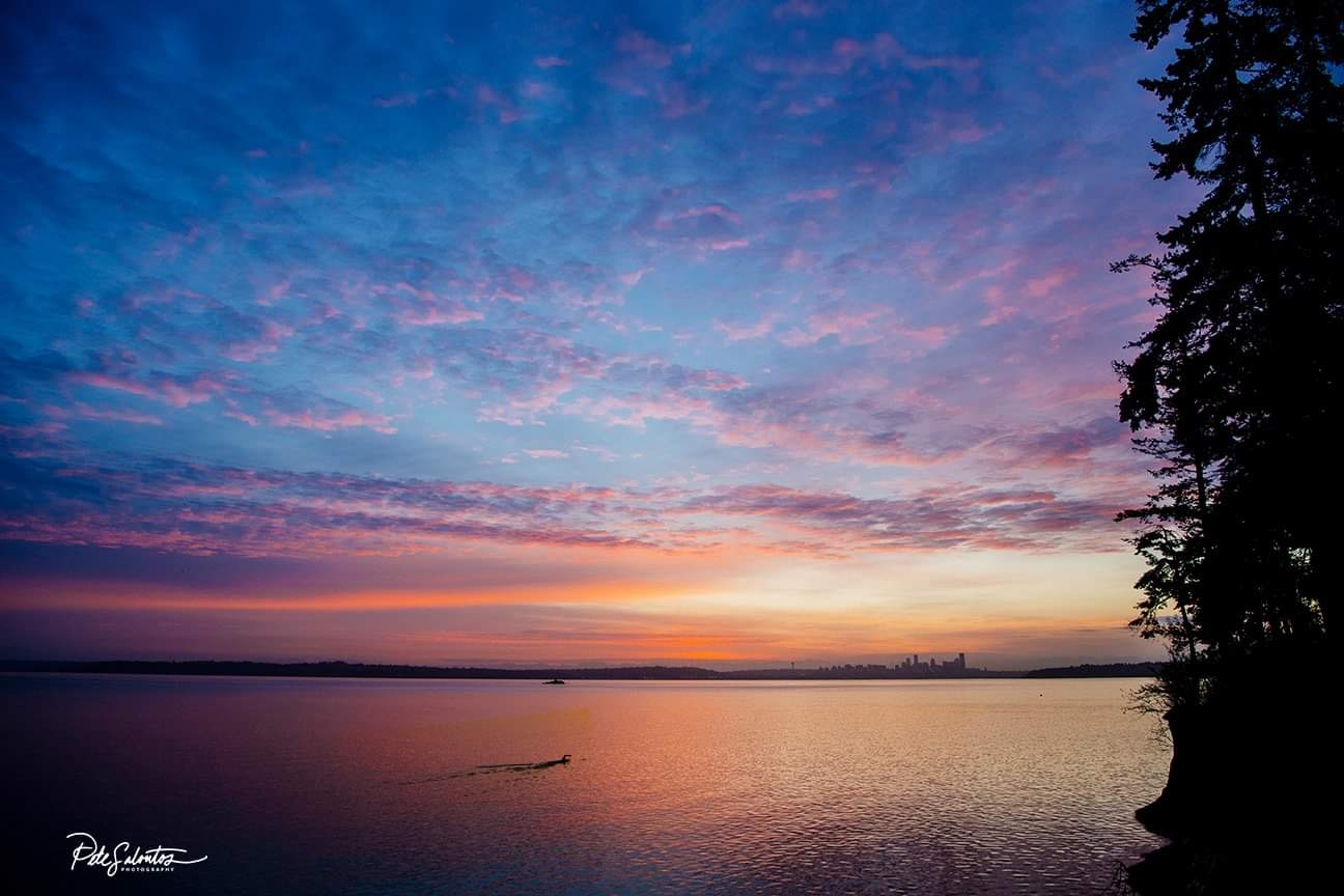 Endless colorful skies — sunrise swim on the South end of Bainbridge Island. (Image: Pete Saloutos)