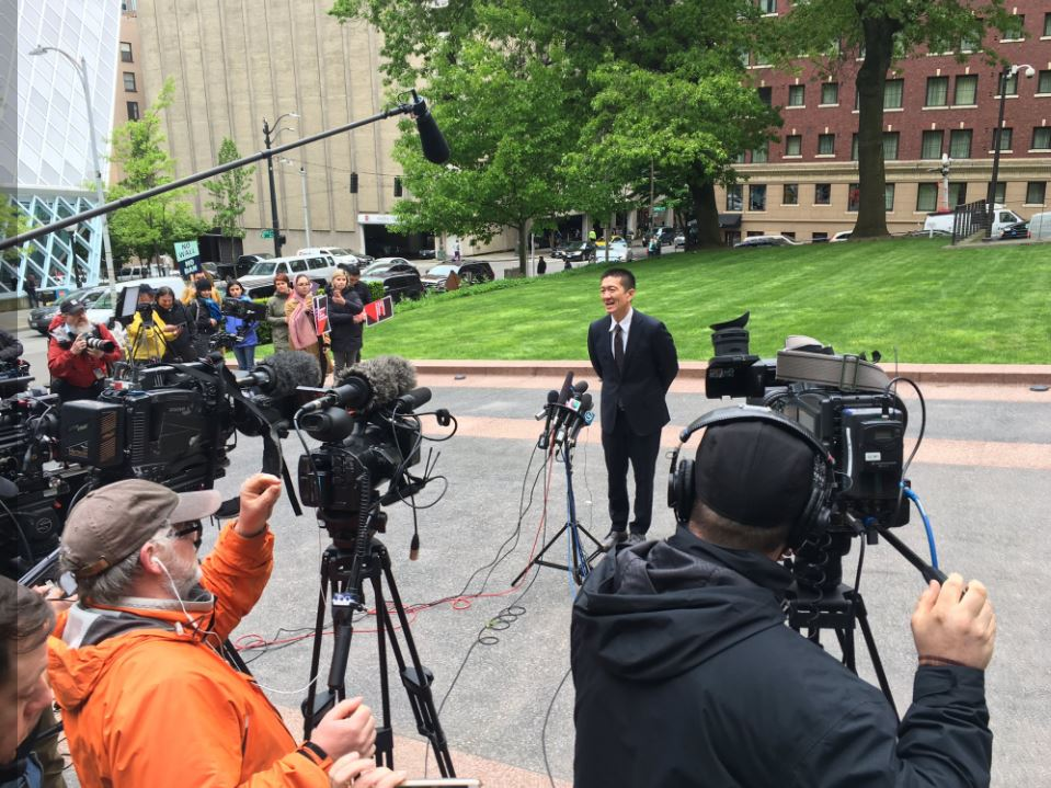 Douglas Chin, Hawaii's attorney general, talks to reporters after a hearing Monday, Nay 2015, before the 9th U.S. Circuit Court of Appeals in Seattle on the Trump administration's travel ban. (Photo: KOMO News)