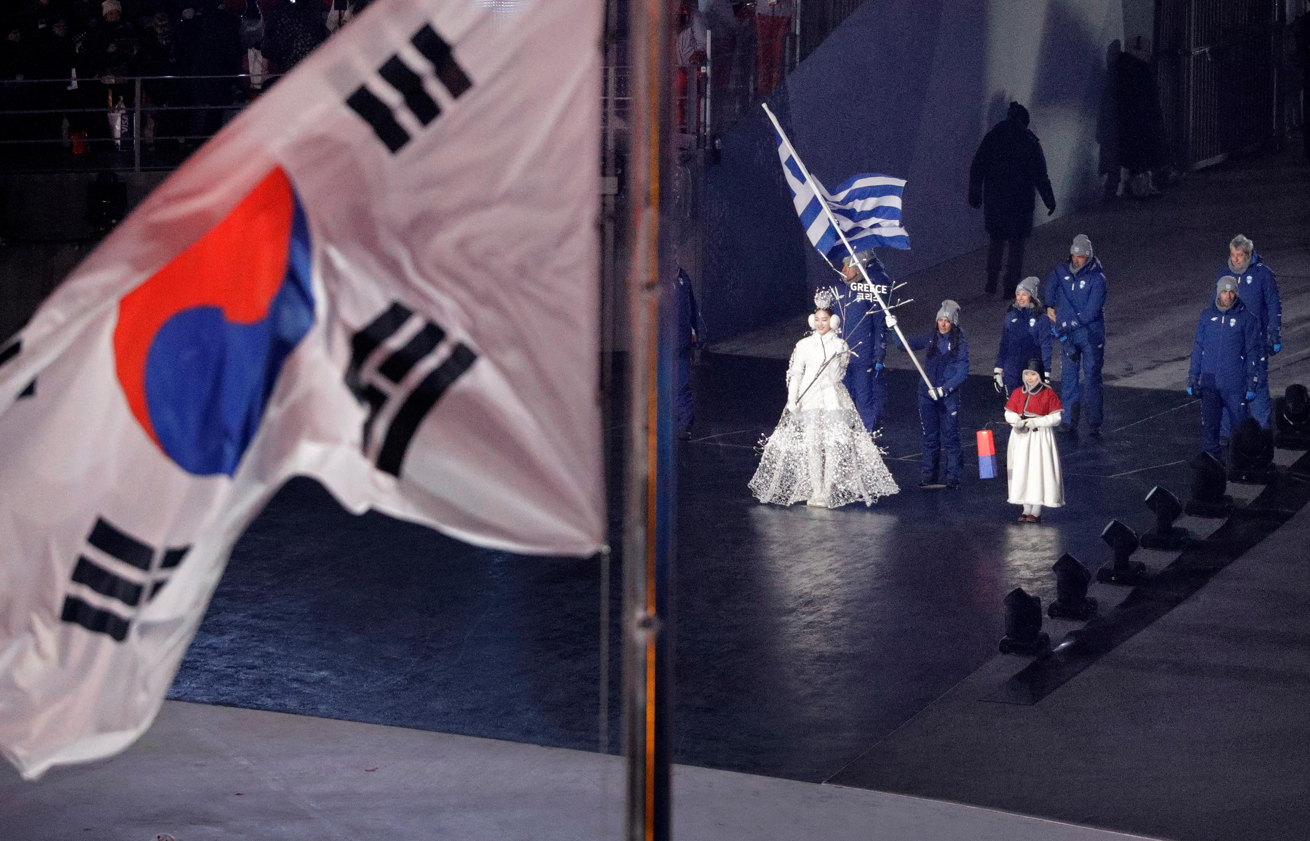 Greece enters the stadium during the opening ceremony of the 2018 Winter Olympics in Pyeongchang, South Korea, Friday, Feb. 9, 2018. (AP Photo/David J. Phillip,Pool)