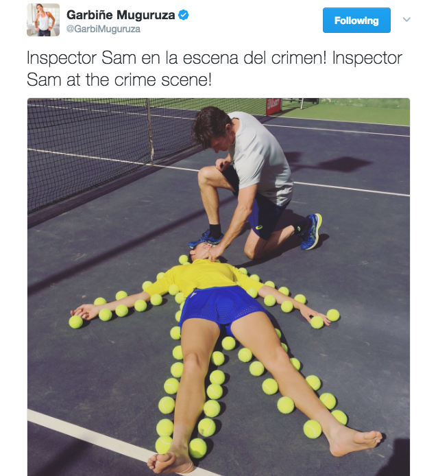 Garbiñe Muguruza shares a fun photo on Twitter of her body being outlined in tennis balls.