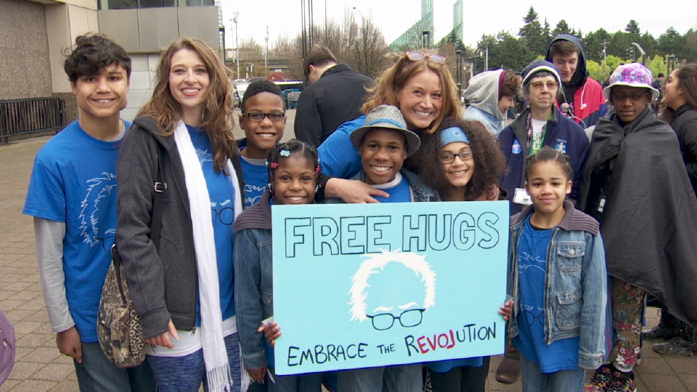 From Left: Markis, Sarah, Jeremiah, Sierra, Devonte, Jennifer, Abigail, and Hannah Hart family at a rally in Portland on March 25, 2016 - Photo from Jackie Labrecque, KATU News