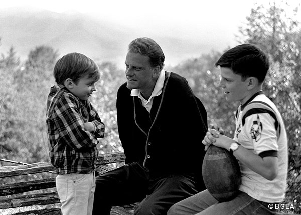 FILE - Billy Graham with this sons Franklin and Ned.  (Photo credit: BGEA)