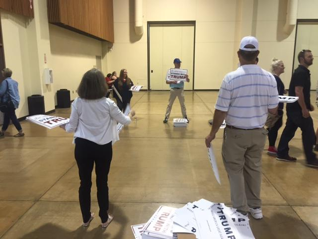 Doors to the Donald Trump rally at the Lane County Events Center opened to ticketholders around 4 p.m. Friday, May 6, 2016, in Eugene, Ore. The crowd was asked not to bring its own signs, but campaign signs were available as they entered. (SBG Photo)