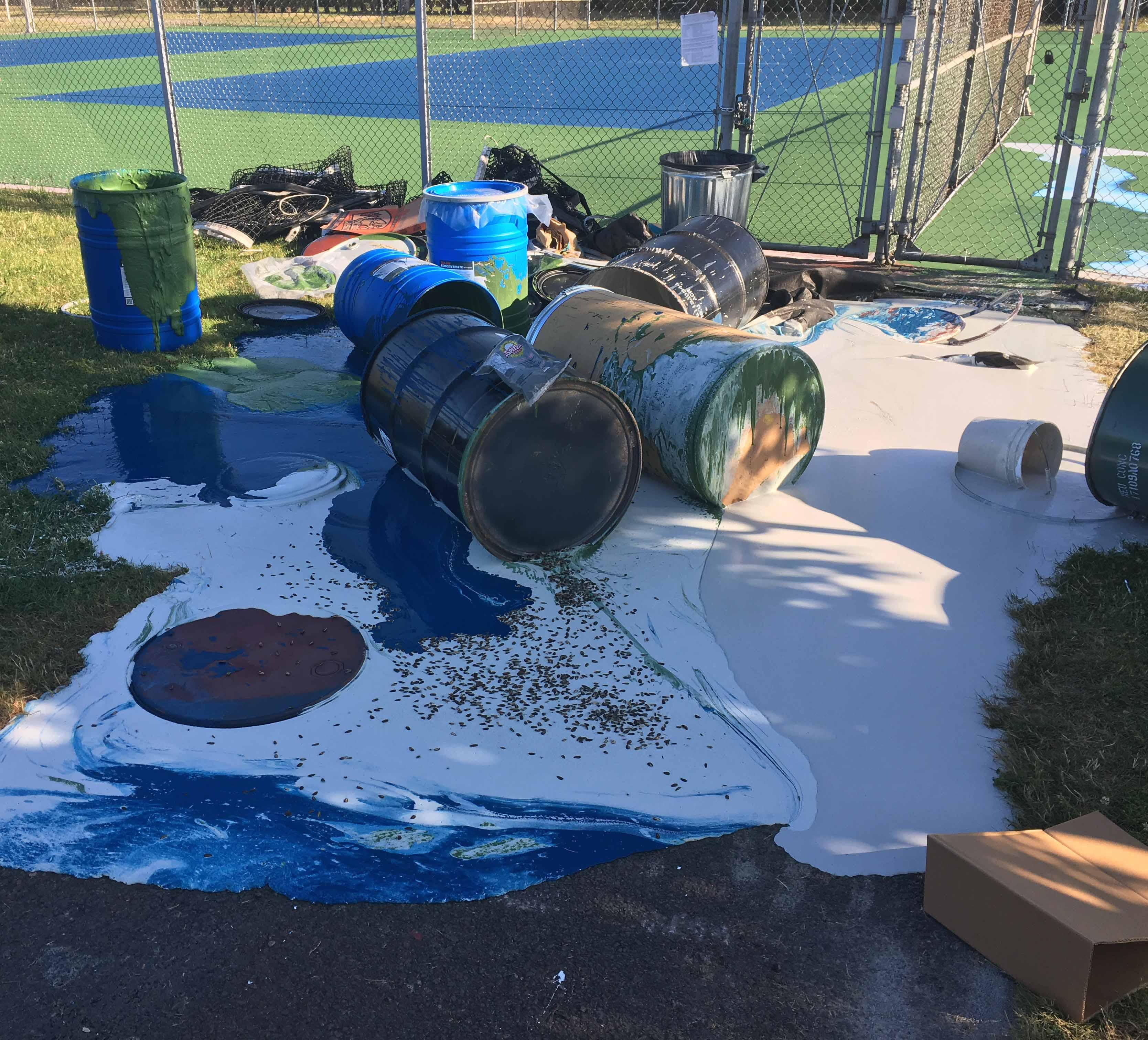 Police are looking for information after finding tennis courts at the Sheldon Community Center damaged by hundreds of gallons of paint. Investigators also found graffiti at the community center; Sheldon High School; Ron's Island Grill; and Hard Core Yoga. Police said the damage was likely done after 5 p.m. Thursday, June 29, and before 6:30 a.m. on June 30. Anyone who saw suspicious behavior in the area is asked to call (541) 682-5111.