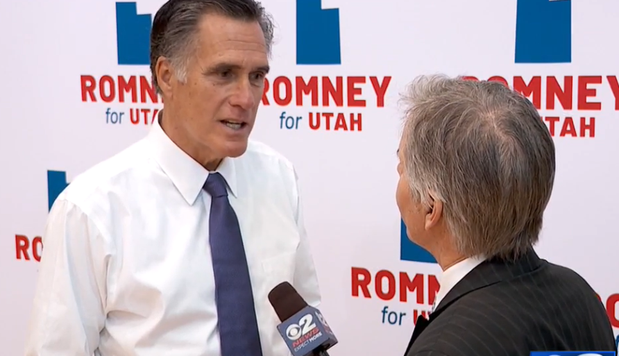 Senate candidate Mitt Romney speaks to a small crowd in Lehi. (Photo: KUTV)