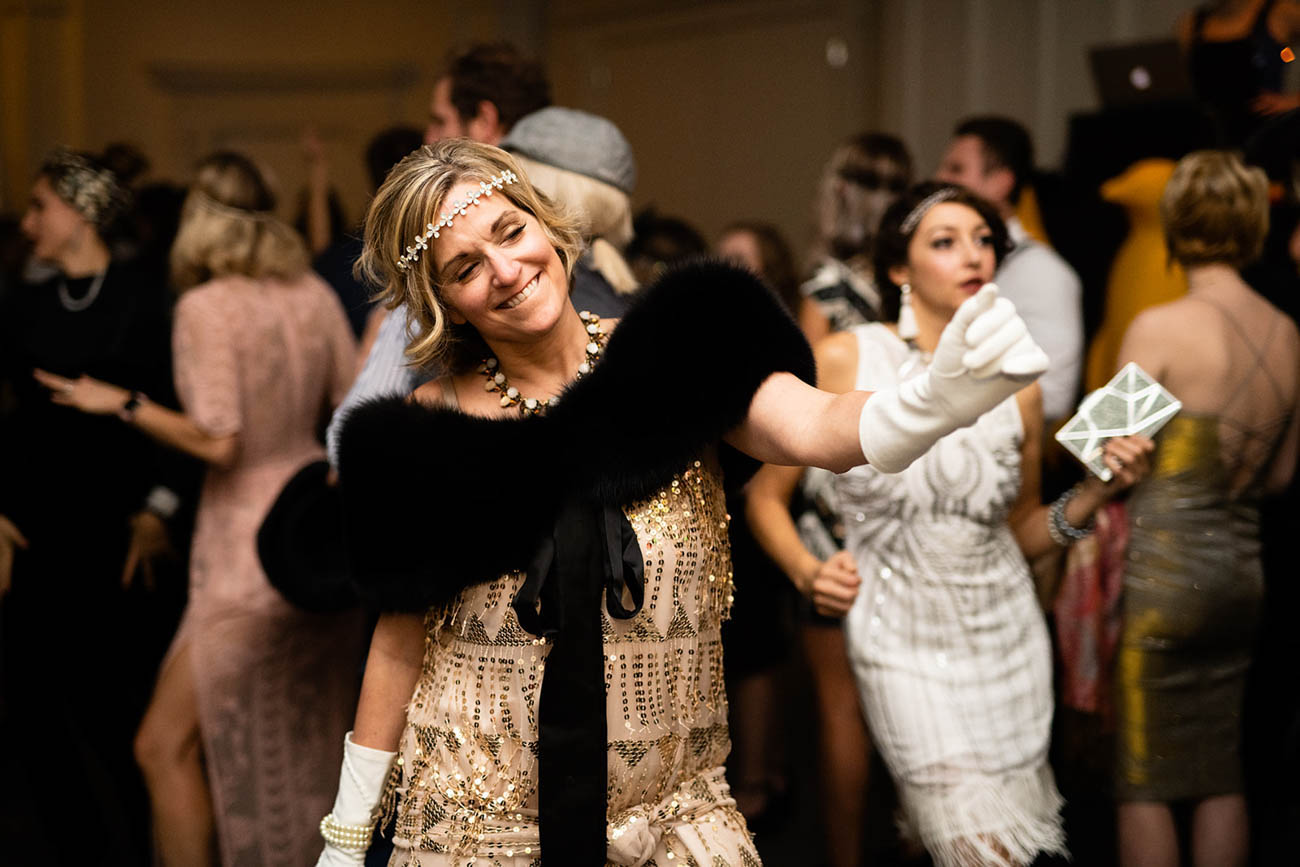 A party guest dancing the night away in 1920s attire at the 21c Museum Hotel New Year's Eve party on Monday, December 31 / Image: Sam Greenhill, via 21c Museum Hotel // Published: 1.3.19