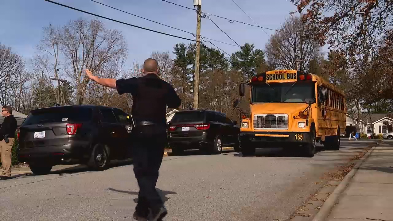 Nov. 24, 2020 - A 13-year-old male student was taken into custody at Hendersonville Middle School after allegedly shooting a 12-year-old female student early Tuesday morning.  (Photo credit: WLOS Staff)