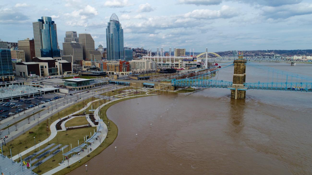 Aerial view of the flooded Ohio River and Downtown Cincinnati / Image: Patrick Donovan, known on Instagram as @_thatdroneguy // Published: 2.21.18