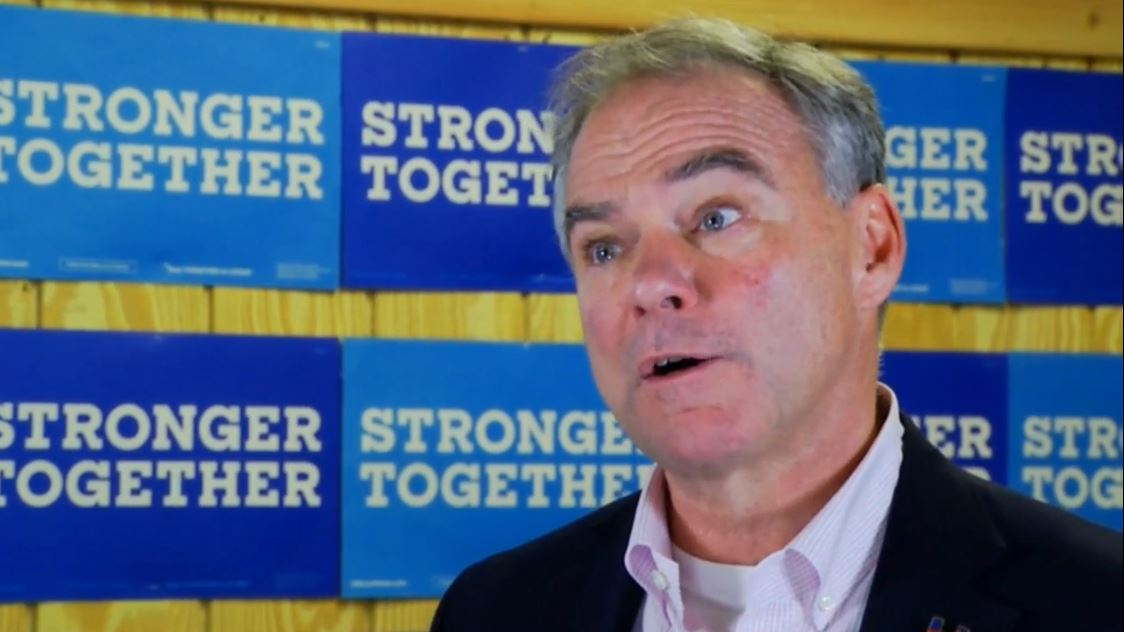 Sen. Tim Kaine speaks with News 13 on August 15, 2016, after a campaign event in Asheville.  (Photo credit: WLOS staff)