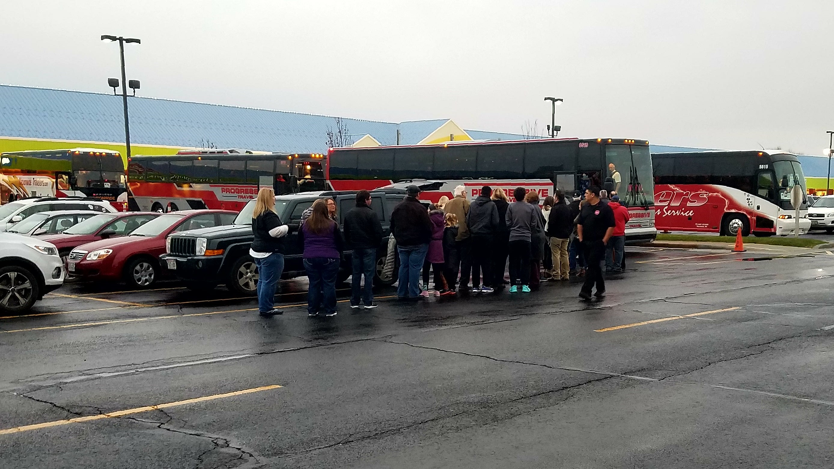 <p>About 400 Wisconsin Herd season ticket holders boarded buses in Oshkosh to make their way to Milwaukee to see the team's first game, November 17, 2017. (WLUK)</p>