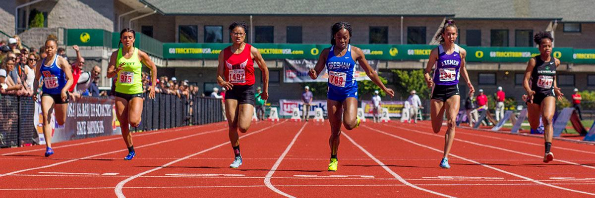 Fechi Nmereole of Gresham High School wins the 6A Girls 100 Meter Dash on Friday with a time of 11.98 in the 2017 OSAA State Track and Field Championsips at Hayward Field. Photo by: Stephanie Cusano, Oregon News Lab