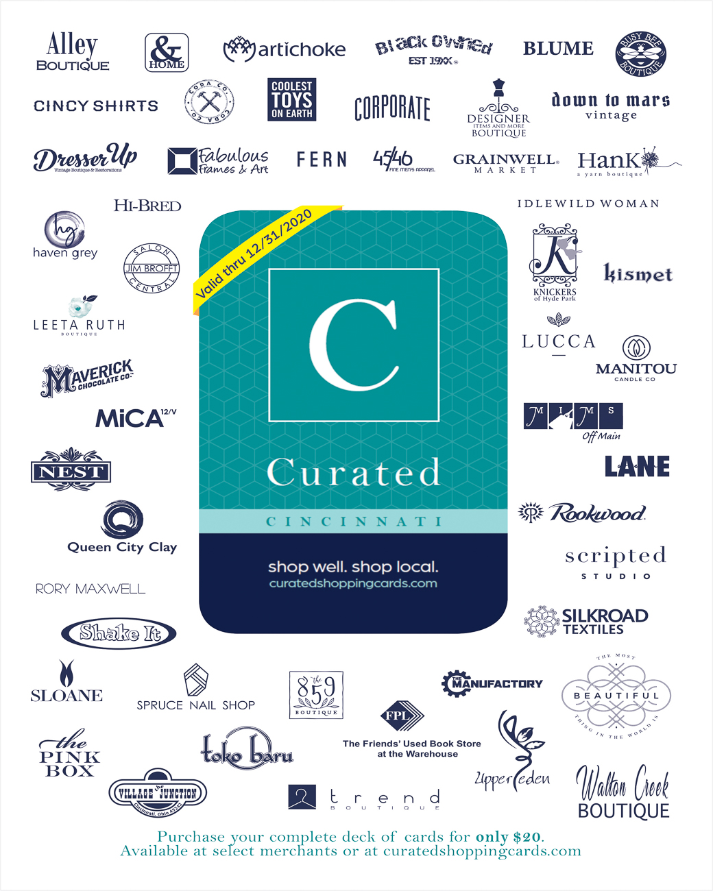 All the businesses who are giving discounts via the Curated Cincinnati deck / Image courtesy of Curated Cincinnati // Published: 11.26.19