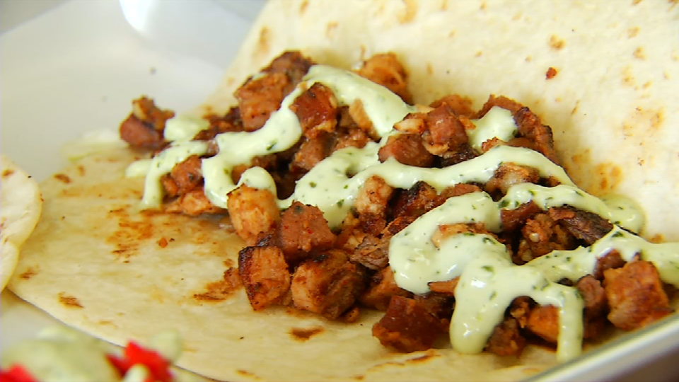 This is the popular taco burger with Discada meat. (News 4 San Antonio)<p></p>