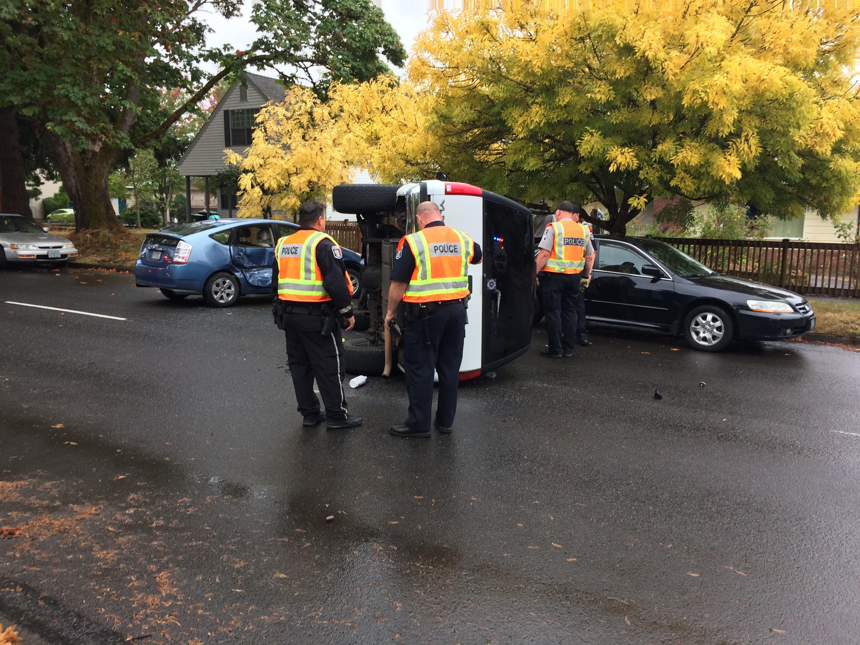 A crash involving a Toyota Prius and a GMC Yukon left the SUV on its side on Hilyard Street near 23rd Avenue in Eugene on Friday. No word yet on whether anyone was injured or the cause of the crash. This story will be updated. (SBG)