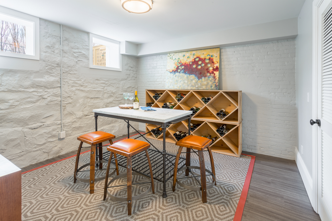 The Ambrose basement provides a perfect space – and temperature -to store wine.