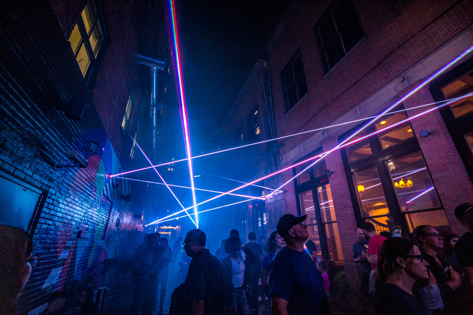PICTURED NEIGHBORHOOD: Downtown / A laser light show can be found in Gano Alley across from the Aronoff Center. / Image: Phil Armstrong // Published: 10.12.19