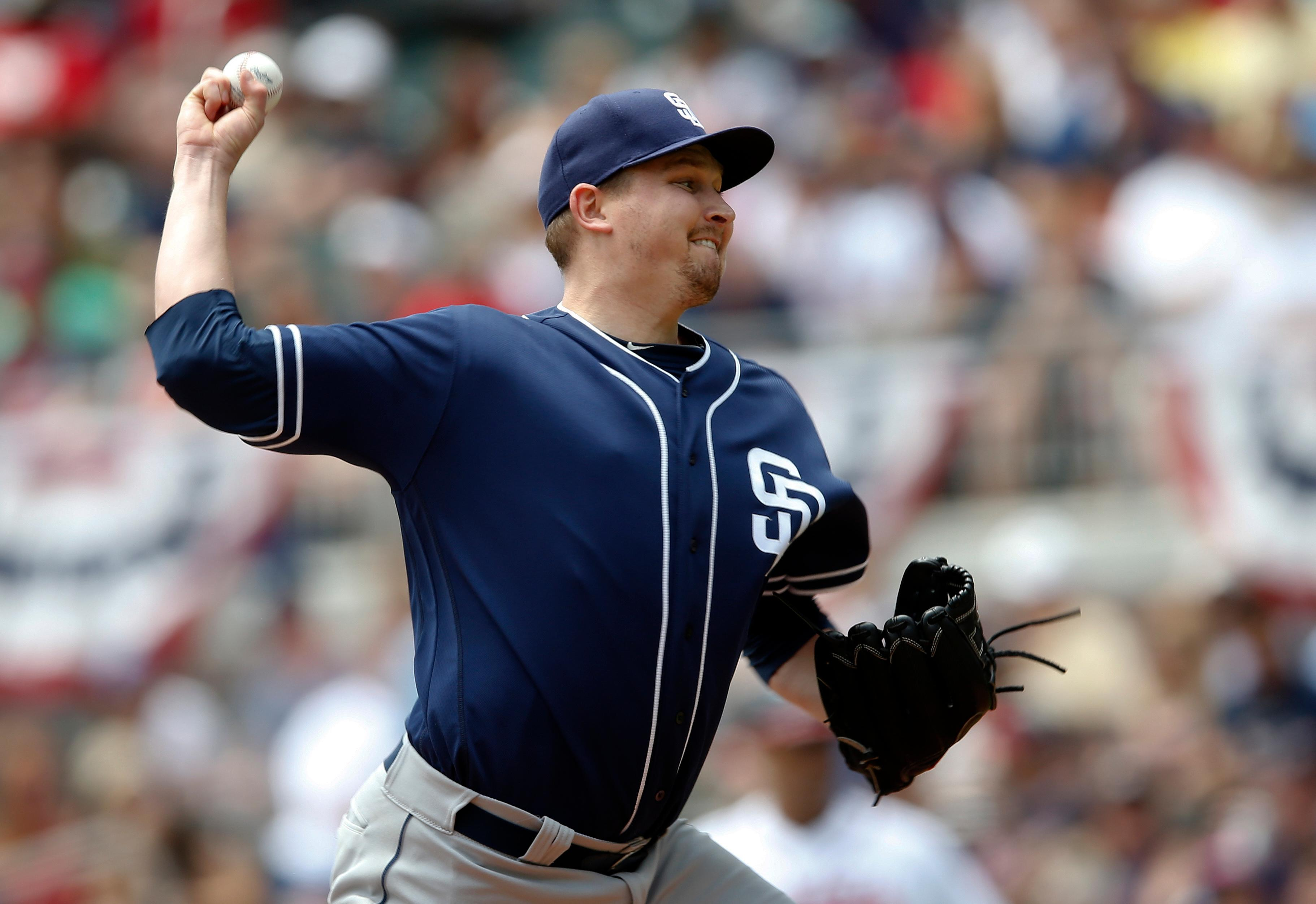San Diego Padres starting pitcher Trevor Cahill throws against the Atlanta Braves in the first inning of a baseball game Sunday, April 16, 2017, in Atlanta. (AP Photo/John Bazemore)