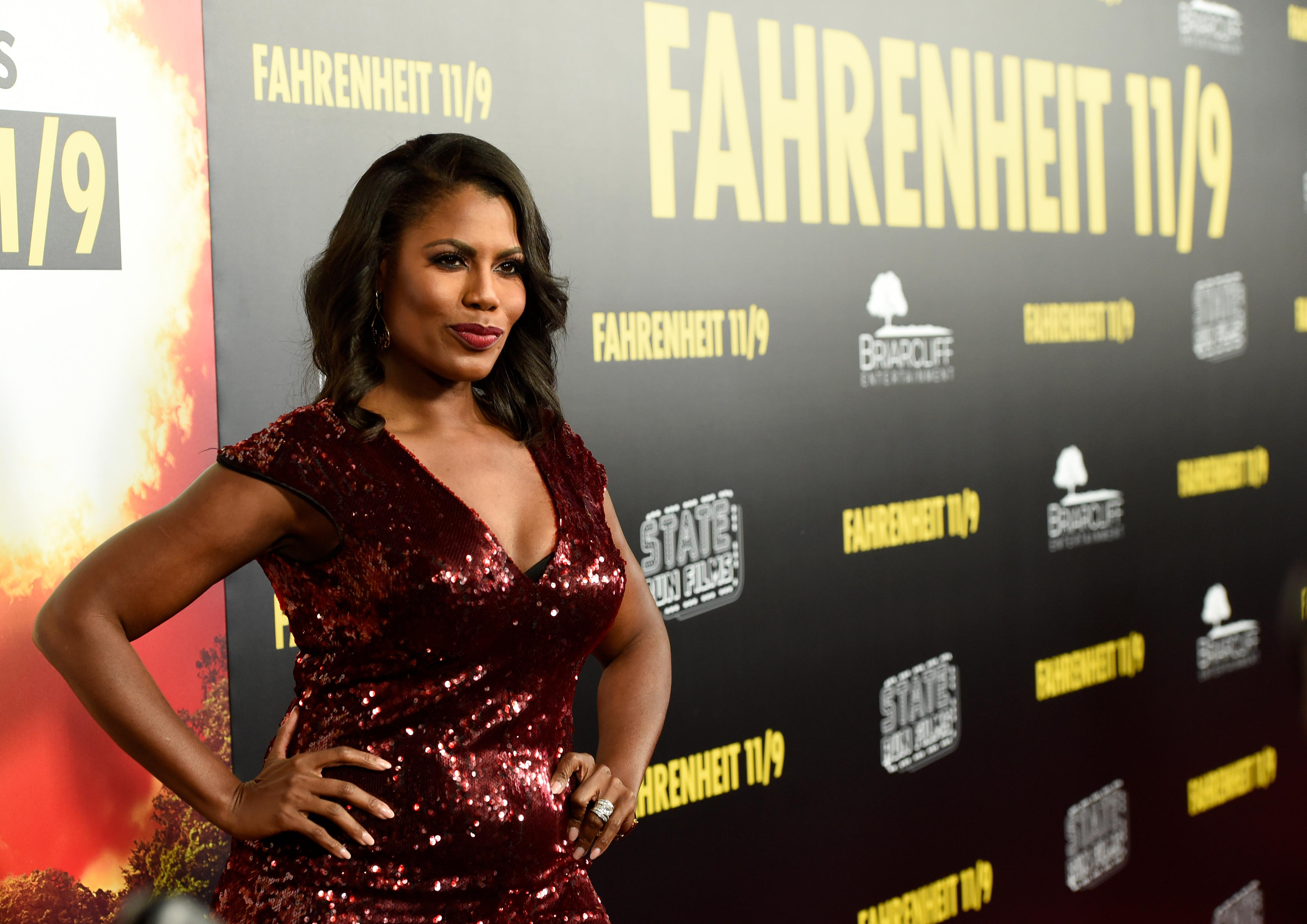 "Omarosa Manigault Newman arrives at the premiere of ""Fahrenheit 11/9"" on Wednesday, Sept. 19, 2018, at the Samuel Goldwyn Theater in Beverly Hills, Calif. (Photo by Chris Pizzello/Invision/AP)"