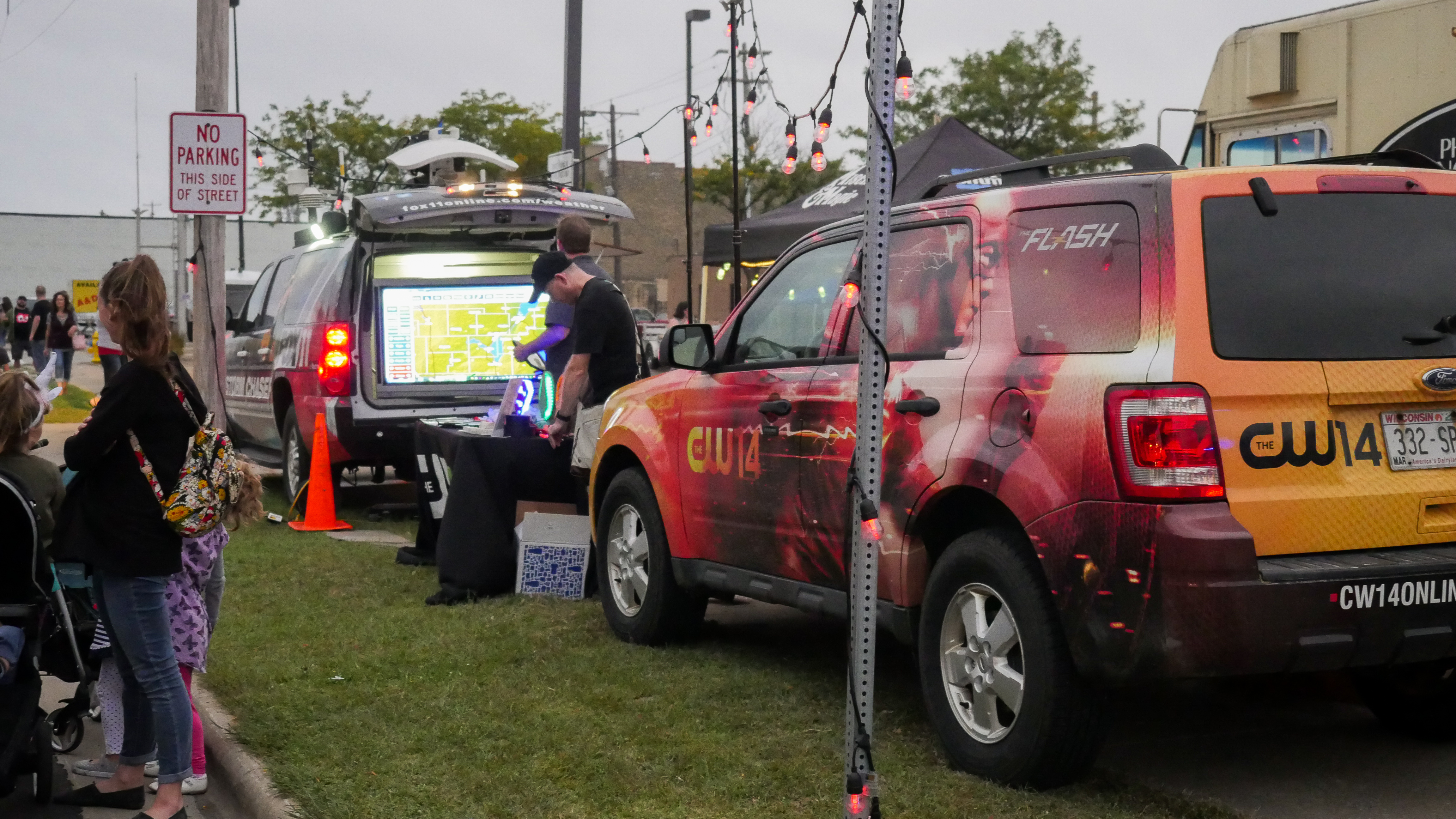 CW 14 and FOX 11 handing out glow sticks and more during the IgNight Market, September 21, 2019 (WCWF/ Beni Petersen)