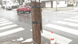 Providence telephone pole held together with duct tape