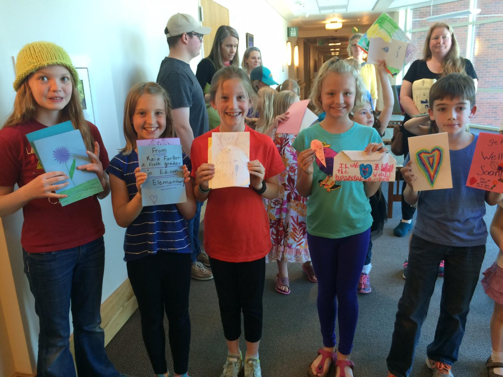 Edison Elementary School students delivered handmade cards to patients at RiverBend Hospital. (SBG photo)
