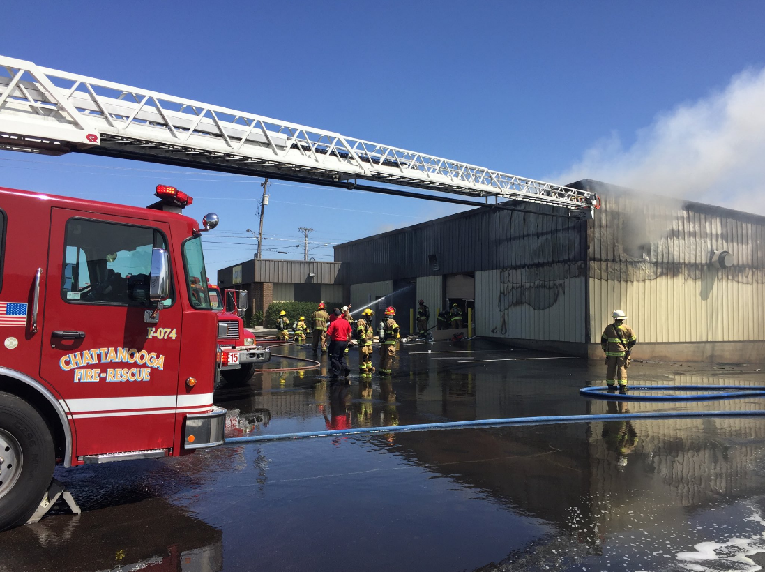 Fire crews are responding to a fire at Shooters Depot in Chattanooga Wednesday. (Image: Chattanooga Fire Department)
