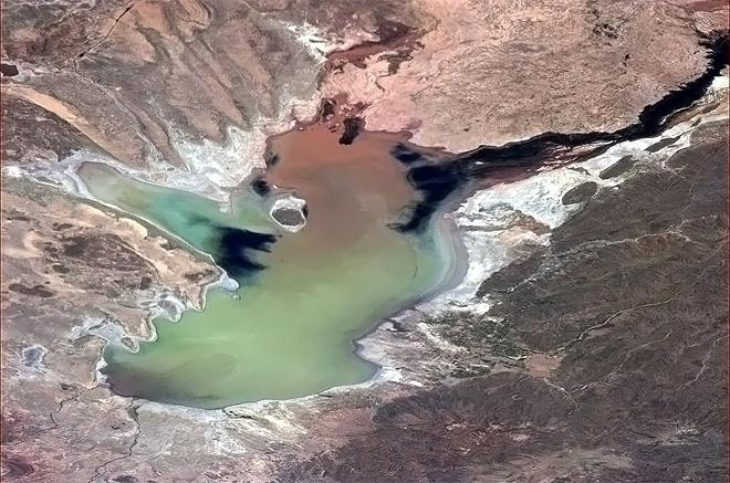 Lake Poopo, Bolivia. The water level goes up and down dramatically with El Nino, revealing a myriad of faces. (Photo & Caption: Chris Hadfield/NASA)