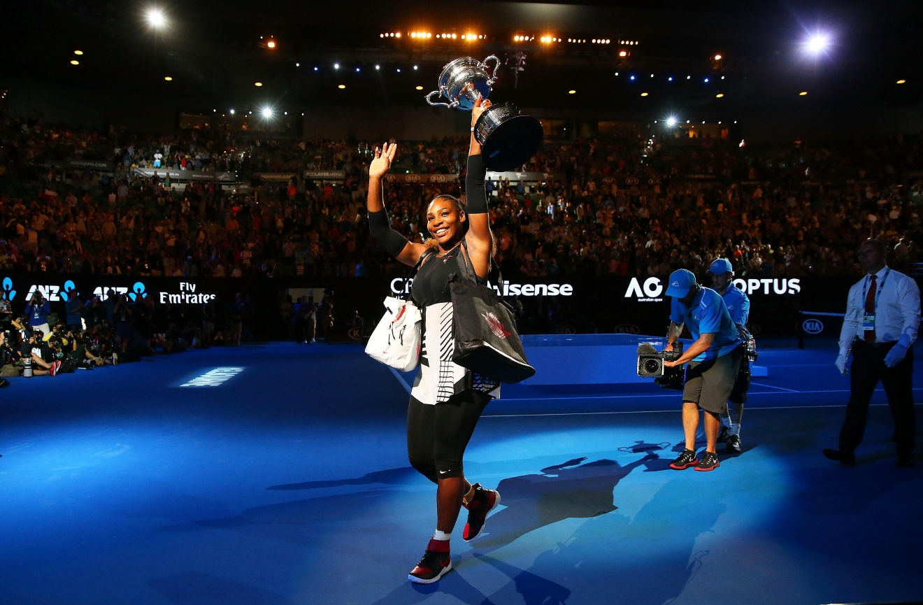 MELBOURNE, AUSTRALIA - JANUARY 28:  Serena Williams waves to the crowd as she leaves the court with the Daphne Akhurst Trophy after winning the Women's Singles Final against Venus Williams of the United States on day 13 of the 2017 Australian Open at Melbourne Park on January 28, 2017 in Melbourne, Australia.  (Photo by Scott Barbour/Getty Images)