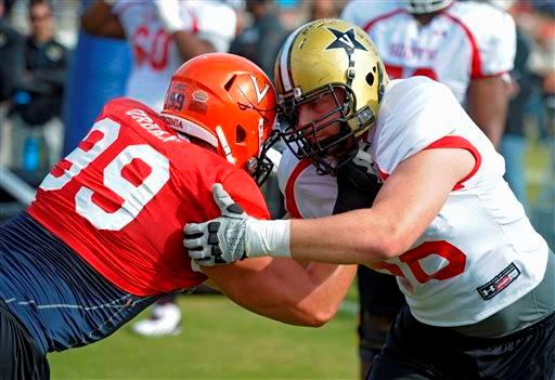 South Squad defensive end Brent Urban of Virginia (99) battles offensive guard Wesley Johnson of Vanderbilt (66) during Senior Bowl practice at Fairhope Municipal Stadium, Monday, Jan. 20, 2014 in Fairhope, Ala.