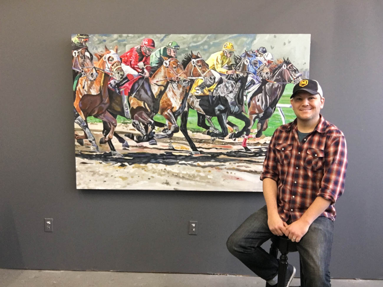 'Horse Race' is Tony's largest painting to-date. It took him 150 hours to complete. / Image courtesy of Tony Lipps // Published: 2.16.20