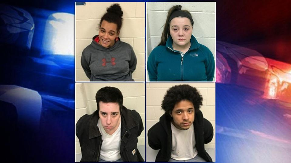 Police say two men from New Hampshire went to the residence and were robbed by 26-year-old Courtney Rouselle, of Lebanon, 21-year-old Samantha Goodwin, of Lebanon, 27-year-old Jose Gomez, of Boston, MA, and 23-year-old Tasha Loaizo, of Somersworth, NH. (Maine State Police)
