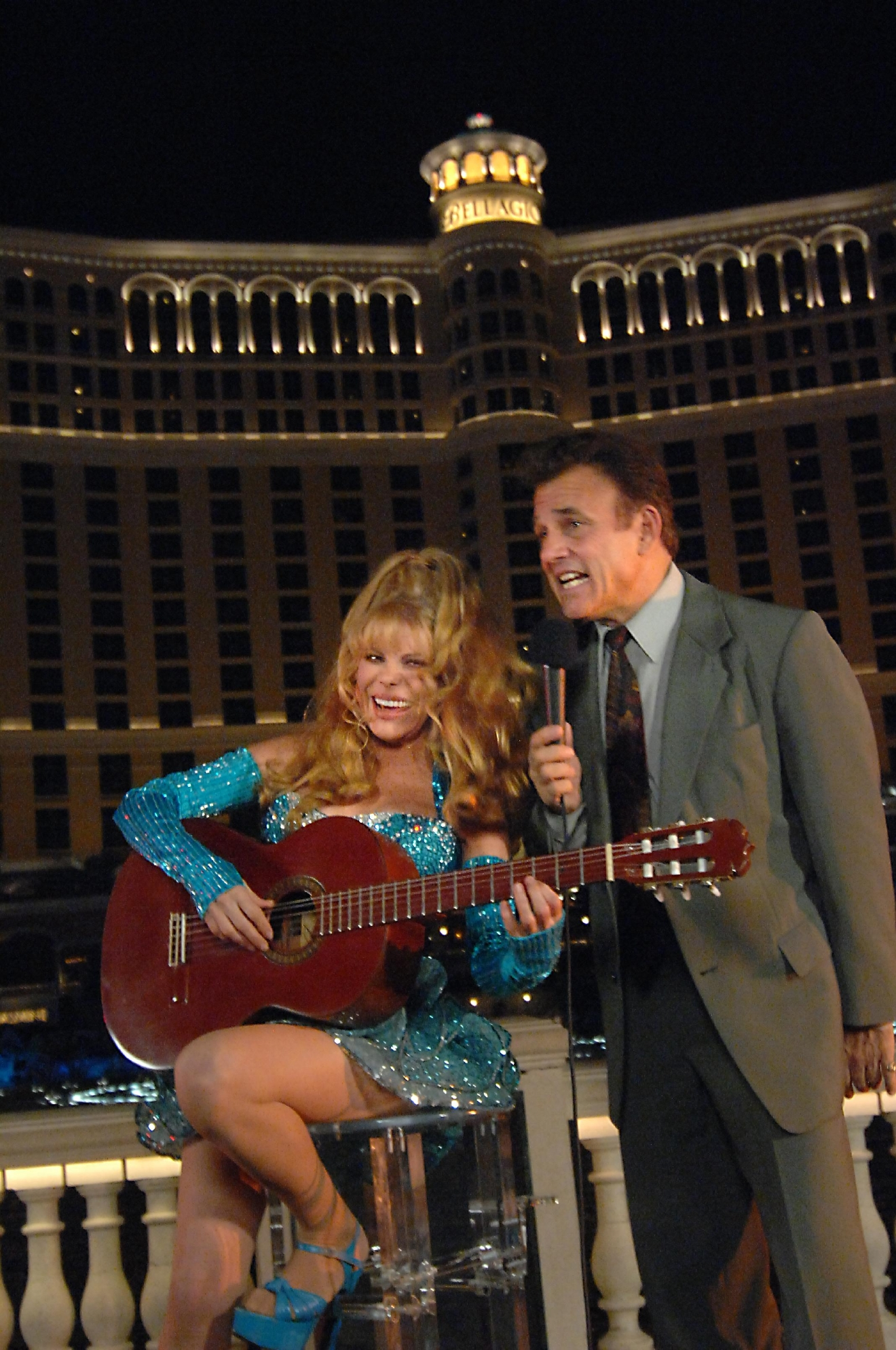 "Tony Sacca joined legendary Entertainer Charo  on Oct. 6, 2008, as she played from her newest album ""Espaa Cai"" in front  of the Bellagio fountains in Las Vegas during a taping of a PBS pledge drive special coming out in early 2009. [Bob Brye/Las Vegas News Bureau]"
