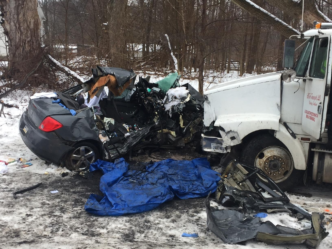 A crash on U.S. 20 killed three people. // Photo courtesy  La Porte County Sheriff's Department