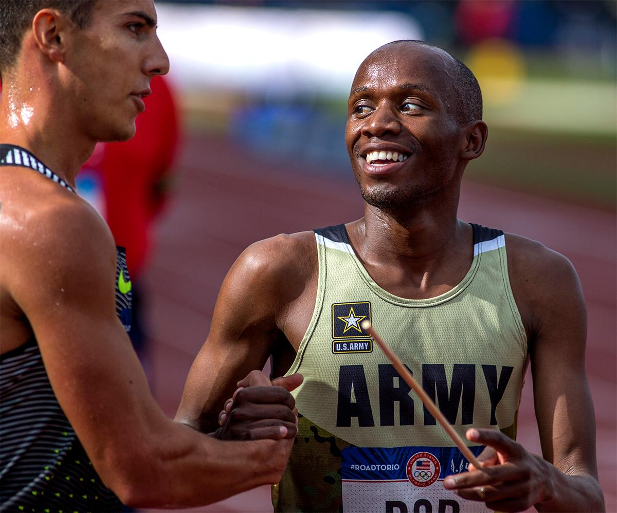 U.S. Army's Hillary Bor and Nike's Don Cabral (left) congratulated each other on their second and third place in the 3,000 meter steeplechase. Photo by August Frank, Oregon News Lab